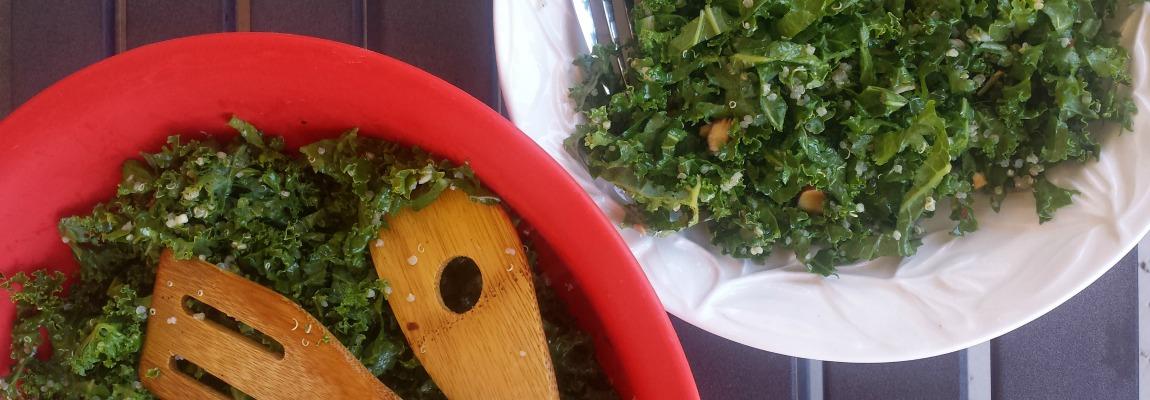 Quinoa Kale Salad with Avocado Lemon Vinagrette