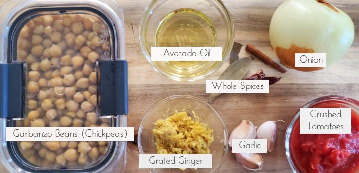 Chana Masala Fresh Ingredients | Warrior In The Kitchen